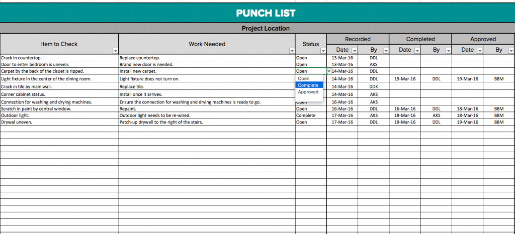 Project punch list template insrenterprises construction punch list template free excel download pronofoot35fo Images