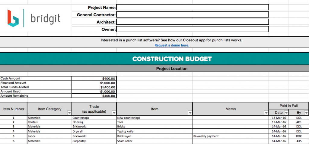 Construction budget template excel free best photos of for Home construction budget